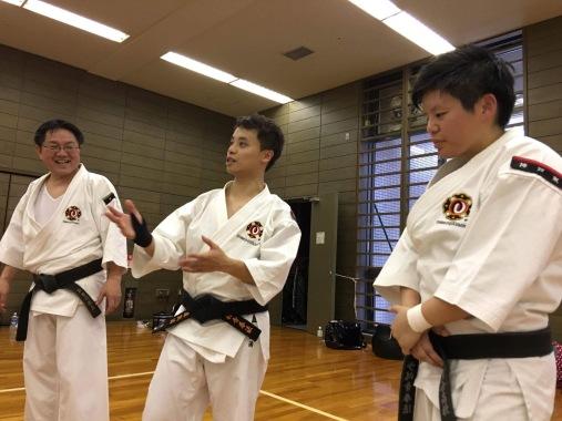 Matsumoto Yoshifumi sensei (left), Calvin Lo (middle), Kobayashi Toshiko (right)